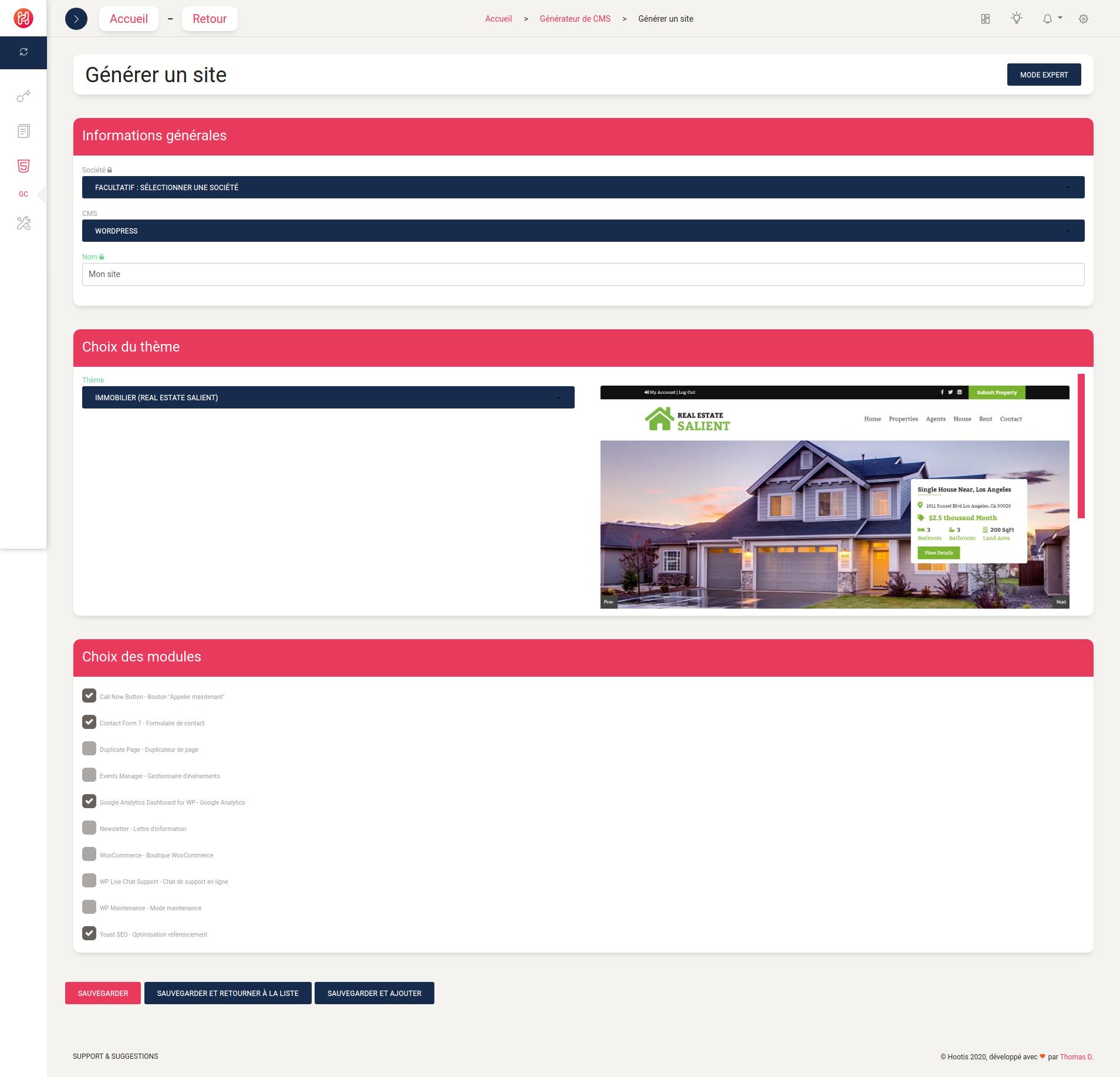 Générer un site